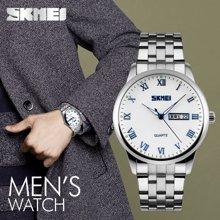 时刻美手表男士防水个性商务石英表双历男表简约时尚潮流复古腕表9110