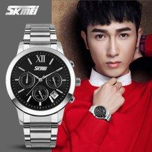 时刻美男士手表时尚潮流商务石英六针表钢带防水简约气质腕表男表9097