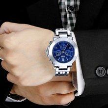 时刻美男表潮流时尚商务休闲经典复古男士防水石英钢带表个性腕表9066