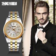 时刻美男士潮流时尚商务手表防水石英机男表华丽水钻钢带个性腕表9098