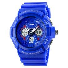 时刻美潮流时尚户外运动个性双显男女学生防水电子腕表果冻色手表0966