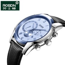 劳士顿男士多功能运动防水石英表 男表时尚皮带真皮腕表手表3116