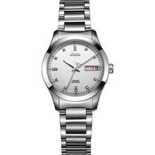 古尊(GOLGEN)手表 水钻系列机械女表白色GN.6097L.PS