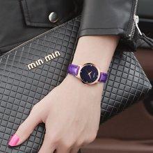 冠琴 正品女士手表璀璨星际玫瑰金皮表带腕表时尚潮流防水石英表GS19051