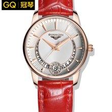 冠琴正品 时尚潮流镶钻气质石英女表 真皮带防水女式腕表时装手表GQ15009