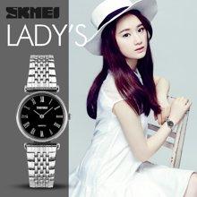 时刻美男商务表防水石英情侣表潮流女士手表时尚个性薄壳钢带腕表9105
