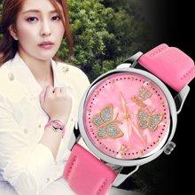 时刻美个性女士时尚甜美气质奢蝴蝶款防水石英皮带手表女表腕表9079