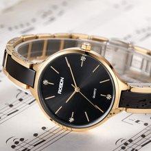劳士顿手表女士时尚潮流 陶瓷正品防水女士手表镀金钛钢手镯套装