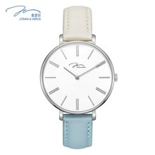 唯路时(JONAS&VERUS)手表 时尚简约牛皮海盐色石英女表X01855-Q3.WWWDWL
