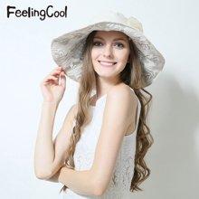 飞兰蔻2017新品女士宽檐蕾丝简约大方遮阳帽 舒适太阳帽 夏帽