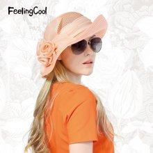 飞兰蔻春夏时尚优雅遮阳帽出游太阳帽商场同款