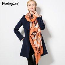 飞兰蔻新品纯羊毛围巾披肩女秋冬时尚几何图形保暖围巾披肩