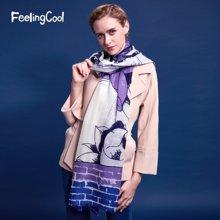 飞兰蔻  新品格纹女士空调两用纯羊毛围巾披肩