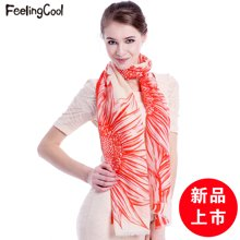 飞兰蔻新品披肩女围巾披肩两用中国风白描花朵商场同款