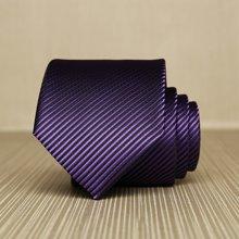 Evanhome/艾梵之家 纳米领带男正装 商务结婚7cm纯色 紫黑色细条纹领带L7016