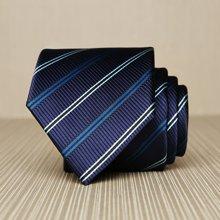 Evanhome/艾梵之家 男士英伦绅士领带简约百搭8CM商务领带蓝黑白条纹 L8036