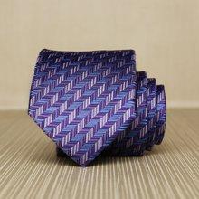 Evanhome/艾梵之家 新款领带男士商务正装7cm领带男桑蚕丝紫白条纹ZS7230