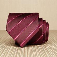 Evanhome/艾梵之家 男士正装百搭领带新郎结婚红底酒红条纹礼服领带男 L7130