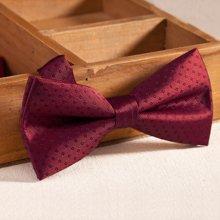 Evanhome/艾梵之家 英伦领结男正装新郎伴郎结婚礼服 双层酒红色圆点蝴蝶结LJ027