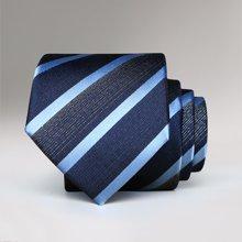 Evanhome/艾梵之家 商务正装简约男士领带百搭蓝黑白斜条纹领带礼盒装 L7126