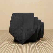 Evanhome/艾梵之家 新款韩版窄领带 5cm纯黑色暗花竖条纹休闲色织领带 L5050