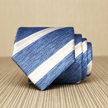 Evanhome/艾梵之家 新款男士商务正装领带 简约百搭7cm蓝底白条纹领带L7121