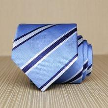 Evanhome/艾梵之家 春季新款8CM南韩丝领带男士商务正装领带蓝白条纹 L8051