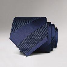 Evanhome/艾梵之家 新款男士商务正装领带简约百搭7CM藏青色黑斜条男士领带L7163