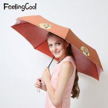 飞兰蔻 新品防紫外线伞不透光遮蔽布晴雨两用降温伞玫瑰人生