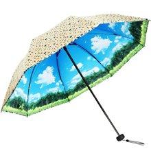 天堂伞 2017 晴雨伞 折叠伞 防晒防紫外线遮阳伞 两用伞 30148ELHB 颜色随机
