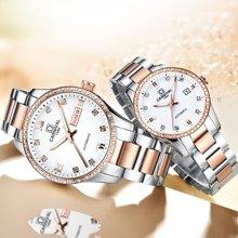 嘉年华(Carnival)情侣机械手表一对 罗马镶石夜光刻度 时尚情侣对表