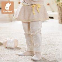 威尔贝鲁 婴儿打底裤 宝宝裙裤女童卡通休闲小脚长裤子彩棉春秋款
