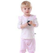 快乐城堡 婴儿圆领肩开套装 新生儿衣服婴儿衣服宝宝纯棉 内衣1-2岁 H43B15401