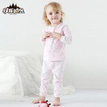 快乐城堡  婴童女宝宝圆领开襟内衣套装 HY330305