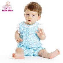 丑丑婴幼新生儿连体爬服夏季新款女宝宝碎花哈衣女童短袖哈衣爬服
