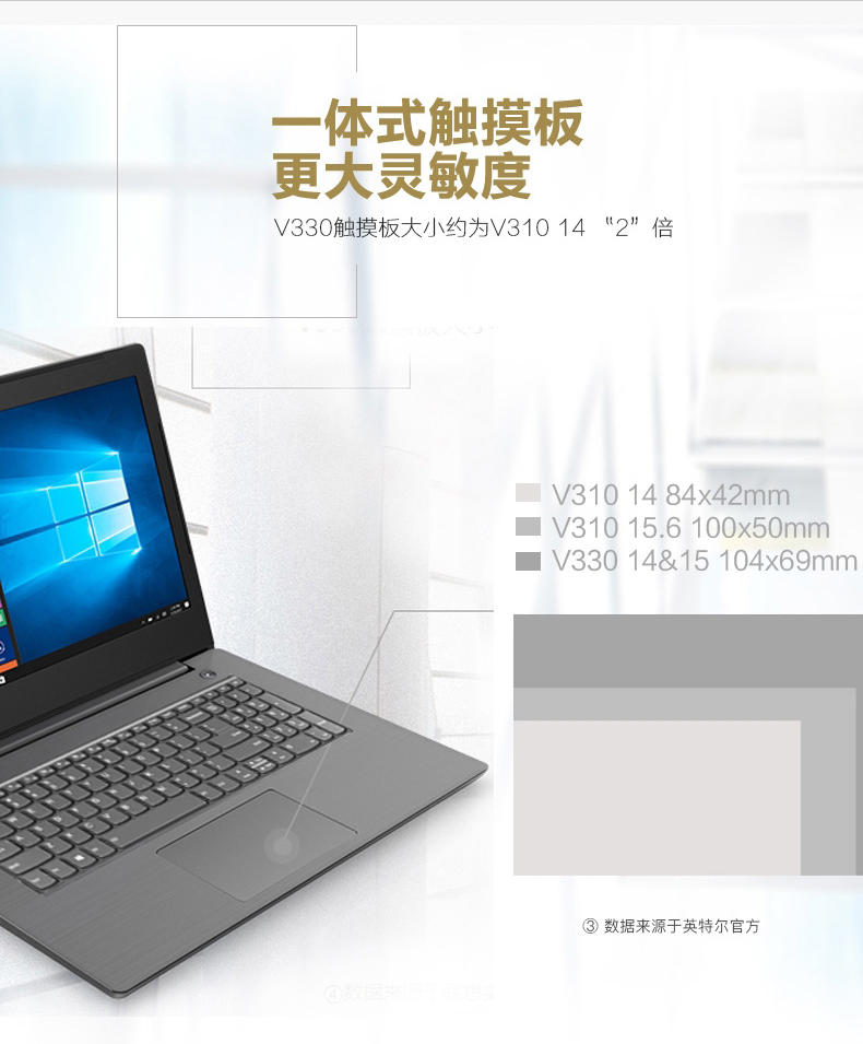 联想 Lenovo 扬天V330 14英寸 商务办公本手提电脑 轻薄家用影音学生电脑 英特尔四核 N4100 4G 500G硬盘 Win10 灰色 灰色
