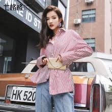 新品 七格格 竖条纹红白衬衫外套女2018新款chic早秋拼接韩版港味宽松长袖上衣