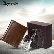 【特惠套装】丹爵时尚牛皮男士短款钱包6022-2+休闲男士针扣皮带12