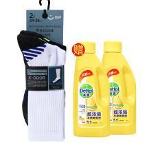 『买赠』奥百思专业运动袜-男式长筒(2对装)(24-26cm) 赠滴露超浓缩衣物除菌液180ml*2瓶