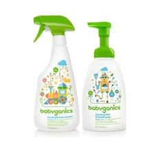 美国BabyGanics甘尼克宝贝奶瓶清洗剂+玩具餐桌椅杀菌喷雾剂(473ml+502ml)