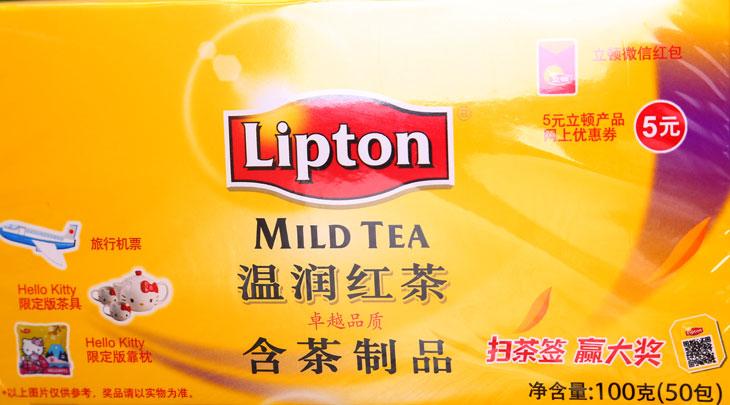 立顿温润红茶,简约的纸盒包装,内袋采用双囊u 型设计