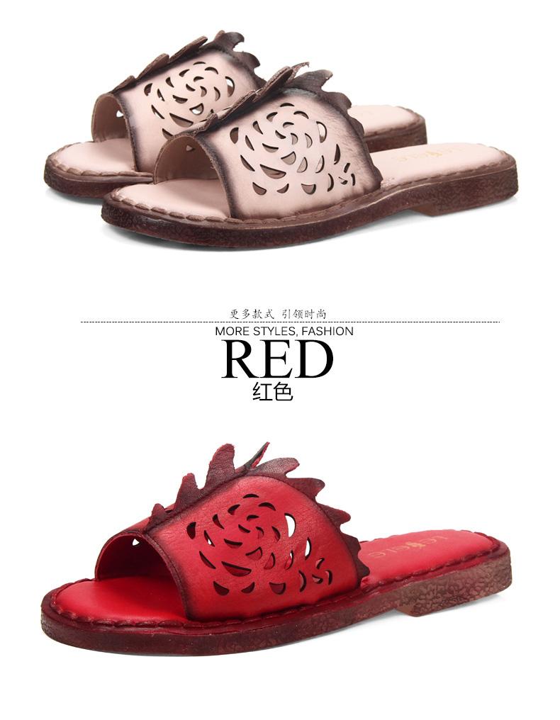 夏季新款牛皮玫瑰花镂空休闲舒适拖鞋ke51-lb0680