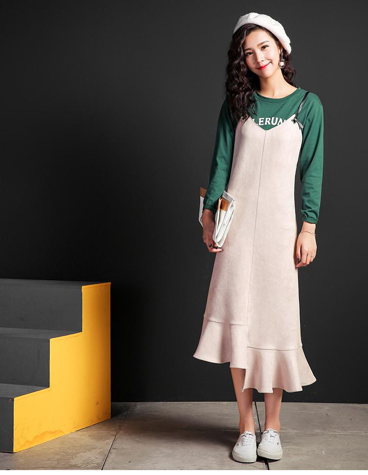 11新品 七格格 2016冬新款不对称荷叶边裙摆设计吊带连衣裙 女-m-灰粉