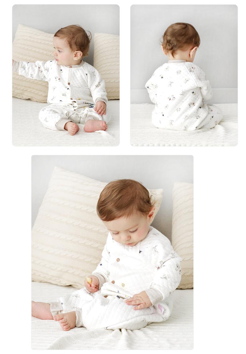 丑丑婴幼 新款男女宝宝前开保暖哈衣按扣方便穿脱款新生儿爬行服 66 奶咖 虹领巾