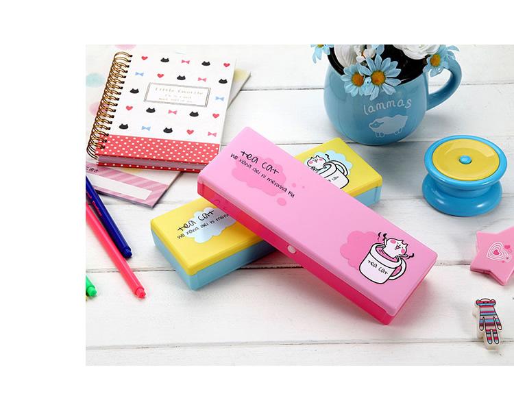 上品汇pp塑料笔盒清新可爱卡通简单小学生男女孩铅笔盒文具盒-粉红色
