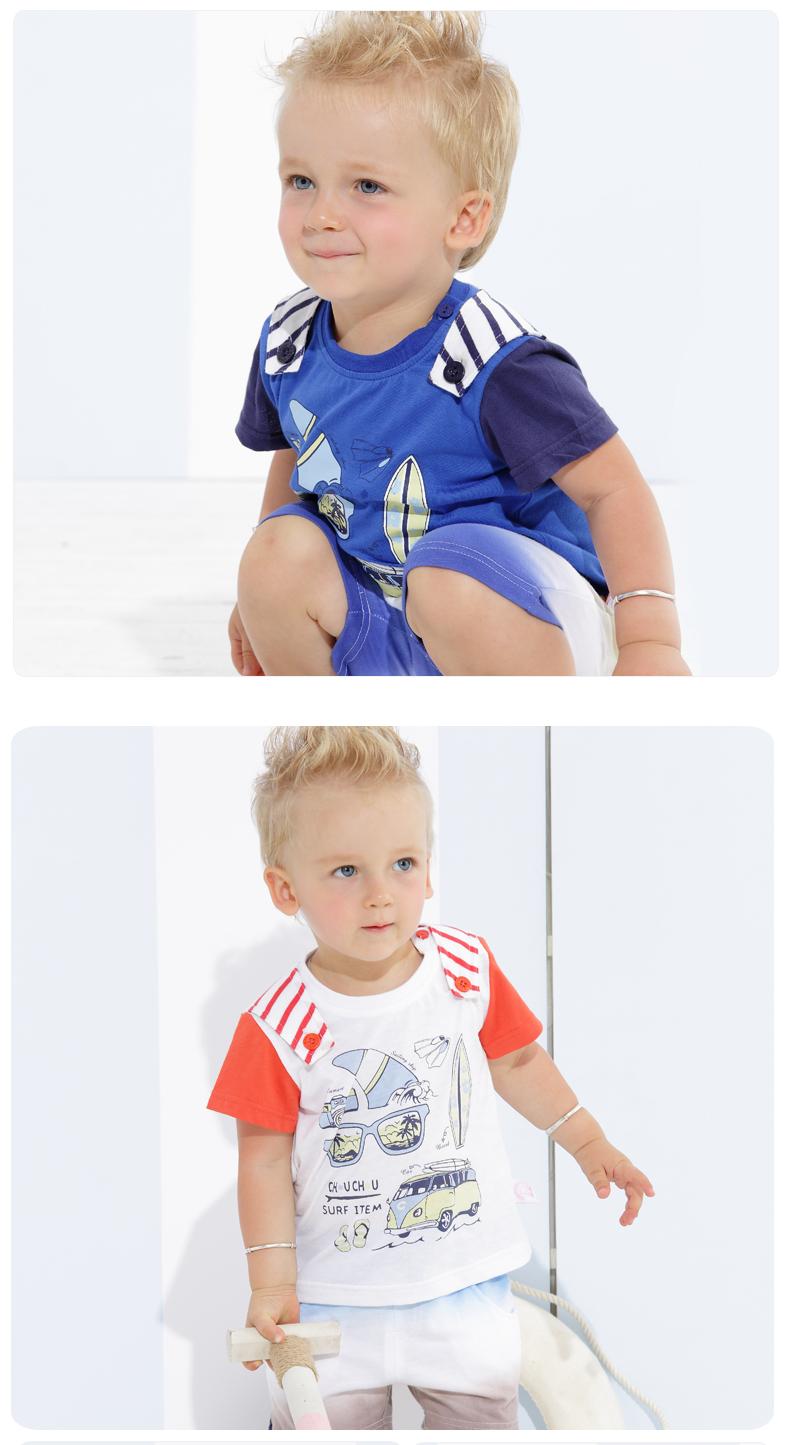 丑丑婴幼男童上衣T恤夏季新款男宝宝百搭T恤 男宝宝上衣 CFE241X 海军蓝 100 虹领巾