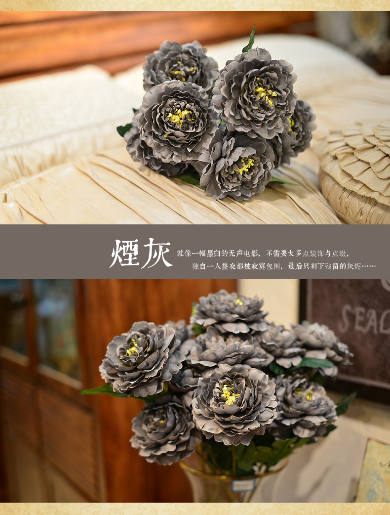 富贵牡丹 高仿真花欧式中式田园装饰花干花绢花假