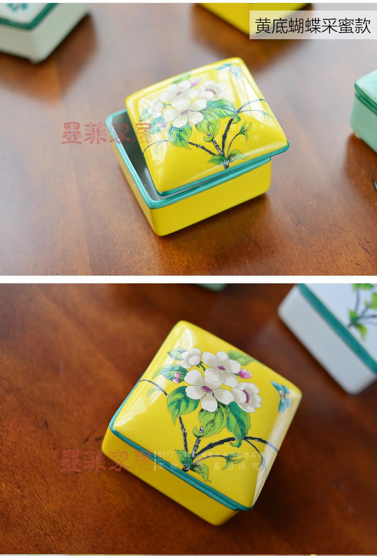 新中式古典手绘陶瓷创意收纳盒子装饰盒摆件小首饰盒-其他-喜鹊花卉款