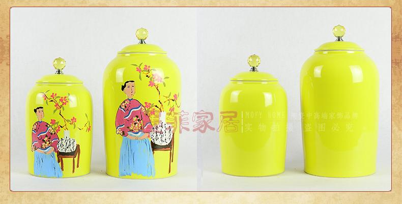 手作 多款入新中式手绘陶瓷时尚现代创意单色釉收纳罐