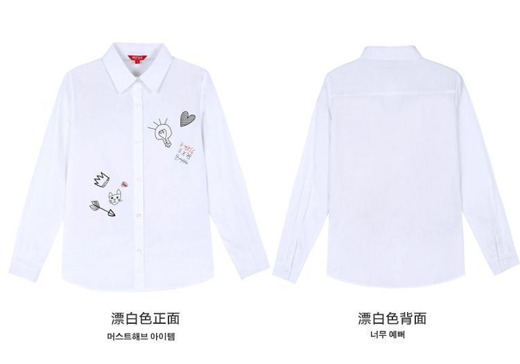 韩都衣舍2016韩版女装夏装新款简约翻领手绘印花长袖衬衫-s-漂白色